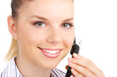 Woman with cellular. Young business woman calling by cellular phone Royalty Free Stock Photos