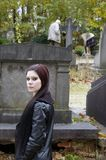 Woman in cemetery Stock Photos