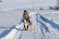 Woman with a Central Asian Shepherd dog stands on a winter rural road on the background of a frozen lake royalty free stock photos
