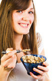 Woman with cereal Royalty Free Stock Photography