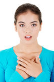 Woman is certain that she's innocent. Woman is certain that she is innocent Royalty Free Stock Photos