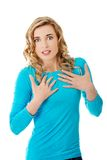 Woman is certain that she's innocent. Woman is certain that she is innocent Royalty Free Stock Photography