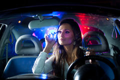 Woman chaced by police Royalty Free Stock Photography