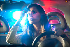 Woman chaced by police Royalty Free Stock Image