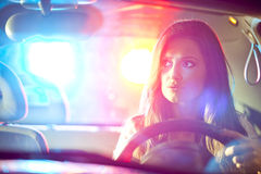 Woman chaced by police Royalty Free Stock Photo