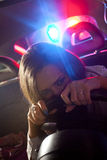 Woman chaced by police Royalty Free Stock Photos