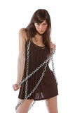 Woman with chain. Young and sexy woman with chain in her hands Stock Photo