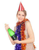 Woman in chains and cone hat with champagne Stock Image