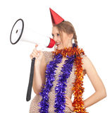Woman in chains and cone hat with  megaphone Stock Photos