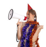 Woman in chains and cone hat with megaphone Royalty Free Stock Images