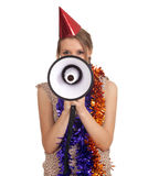 Woman in chains and cone hat with megaphone Stock Photo