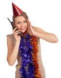 Woman in chains and cone hat with  phone Royalty Free Stock Image