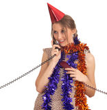 Woman in chains and cone hat with  phone Stock Image