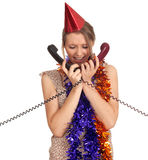 Woman in chains and cone hat with  phones Stock Photo
