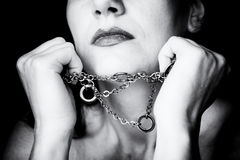 Woman in chains. Image of woman breaking chains Stock Images
