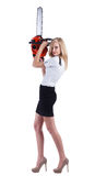 Woman with chainsaw. Businesswoman with chainsaw isolated on white stock image