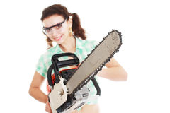Woman with chainsaw Royalty Free Stock Photography