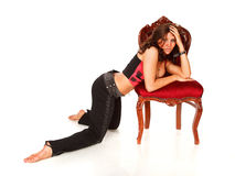 Woman and chair Royalty Free Stock Photography