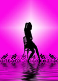 Woman on chair. Illustration of a woman sitting on a chair, her reflexion in water, purple background Royalty Free Stock Images