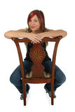Woman on Chair with Clipping Path Royalty Free Stock Photos