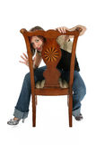 Woman in Chair with Clipping Path Stock Photos