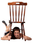 Woman with chair Stock Photos