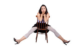 Woman with chair Royalty Free Stock Image