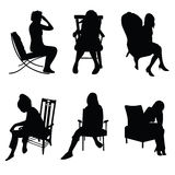 Woman in chairs vector Royalty Free Stock Images