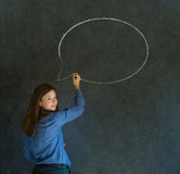 Woman with chalk speech bubble talk talking Royalty Free Stock Image
