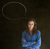 Woman with chalk speech bubble talk talking Stock Photos