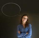 Woman with chalk speech bubble talk talking. Business woman, student or teacher with speech bubble talk talking on blackboard background Stock Photos