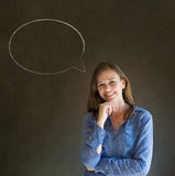 Woman with chalk speech bubble talk talking Royalty Free Stock Photography