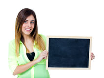 Woman with chalkboard Stock Photography