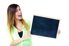Woman with chalkboard Royalty Free Stock Images