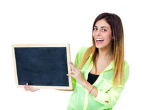 Woman with chalkboard Royalty Free Stock Photos