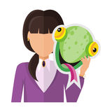Woman with Chameleon Mask Flat Design Vector. Brunet woman character in violet blouse with chameleon mask in hand vector. Flat design. Masquerade animal clothing Stock Image