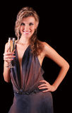 Woman with a champagn Stock Photos