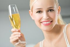 Woman with champagne Stock Photos