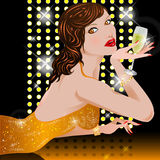 Woman with champagne. Illustration beautiful woman with champagne's glass Royalty Free Stock Images