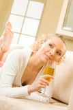 Woman with champagne glass Stock Photo