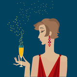 Woman with champagne  portrait. Stock Photo