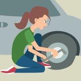 Woman changing a flat tire vector cartoon. Woman changing a flat tire - funny vector cartoon illustration Stock Photos