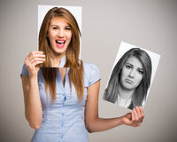 Woman changing her mood Royalty Free Stock Images