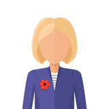 Woman Character Avatar Vector in Flat Design. Woman character avatar vector in flat style design. Blond female personage portrait icon. Illustration for Royalty Free Stock Photography