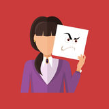 Woman Character Avatar Vector in Flat Design. Woman character avatar vector. Flat style. Female portrait with anger, wrath, insult, skepticism, contempt Stock Images