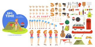 Woman character on barbeque set for animation stock illustration