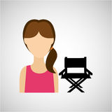 Woman character chair director film. Design  illustration Royalty Free Stock Image