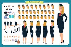 Woman character creation set. The stewardess, flight attendant. Icons with different types of faces and hair style, emotions, vector illustration