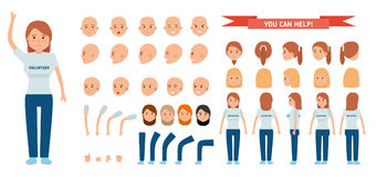 Woman character creation set. Young girl volunteer. Icons with different types of faces and hair style, emotions, front, rear side view. Vector flat stock illustration