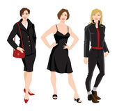 Woman character in different clothes for office and everyday Stock Photo